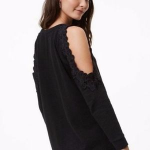 LOFT Tops - loft | black cold shoulder cutout lace terry top L